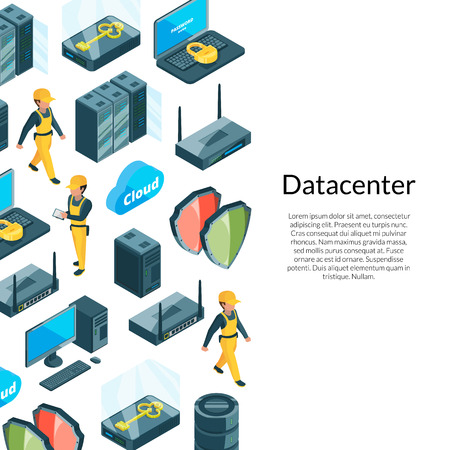Vector electronic system of data center icons background with place for text illustration Illusztráció