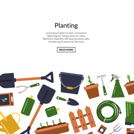 Vector banner and poster flat gardening icons background with place for text illustration