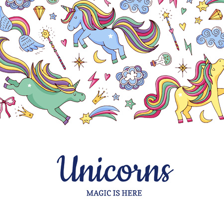 Vector cute hand drawn magic unicorns and stars background with place for text illustration. Poster template colored