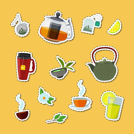 Vector colored cartoon tea kettles and cups stickers of set illustration 向量圖像
