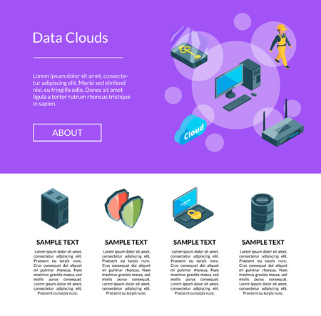 Vector electronic system of data center icons landing page template illustration 矢量图像