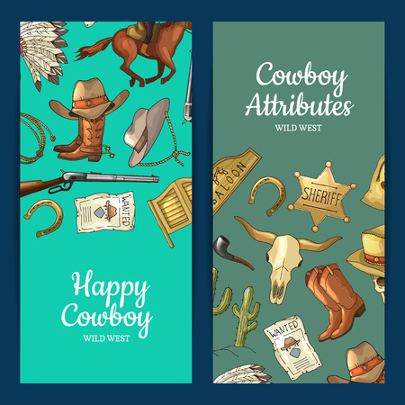Vector hand drawn wild west cowboy elements web banner templates illustration Vectores