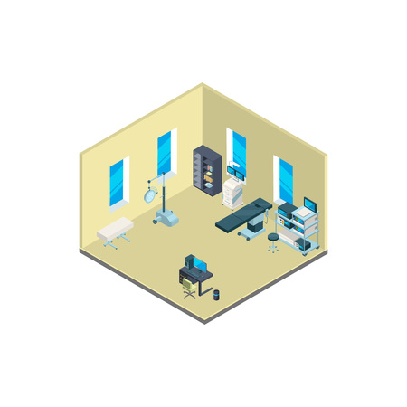 Vector isometric hospital interior with furniture and medical equipment illustration isolated on white background