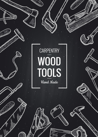 Vector hand drawn carpentry elements sale poster on black chalkboard background illustration Vector Illustration