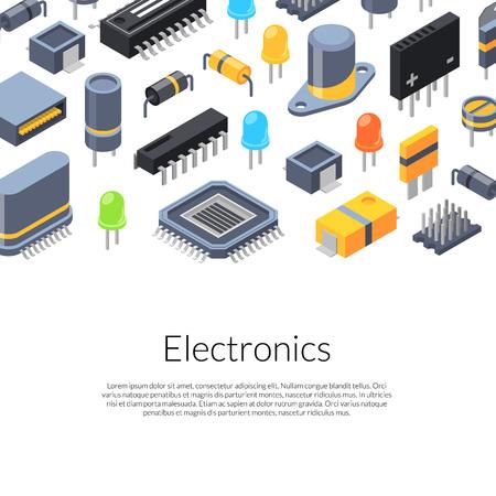Bannière vecteur puces isométriques et icônes de pièces électroniques avec place pour illustration de texte