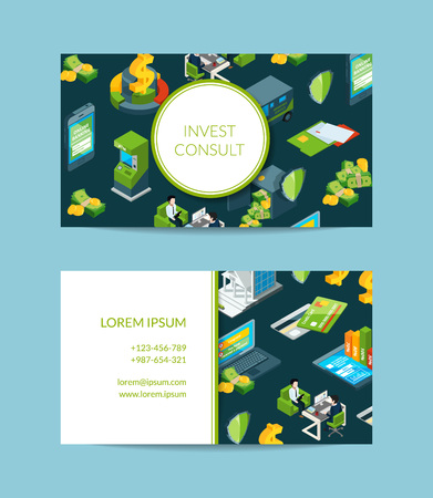 Vector isometric money flow in bank business card template for bank or finance investment and consult company illustration Illustration