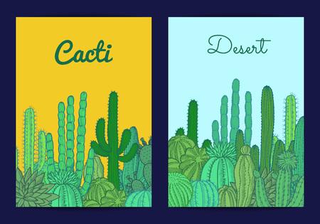 Vector hand drawn desert cacti plants card or flyer template illustration Illustration