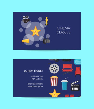 Vector flat cinema icons business card template for talent agency or cinema school illustration