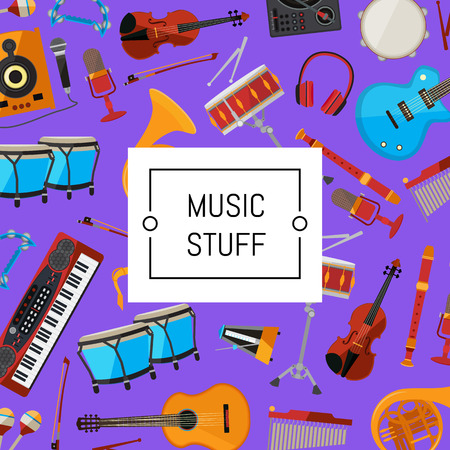 Vector cartoon musical instruments illustration. Color background and seamless pattern