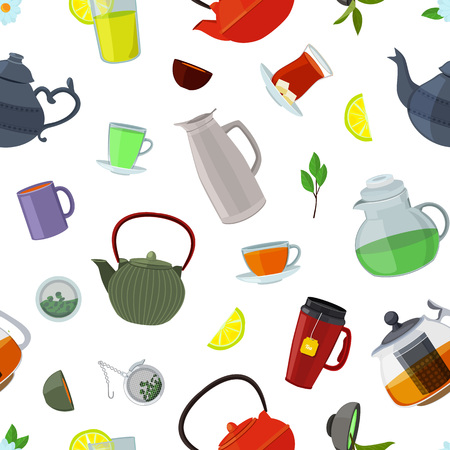 Vector cartoon colored tea kettles and cups pattern or background on white illustration Imagens