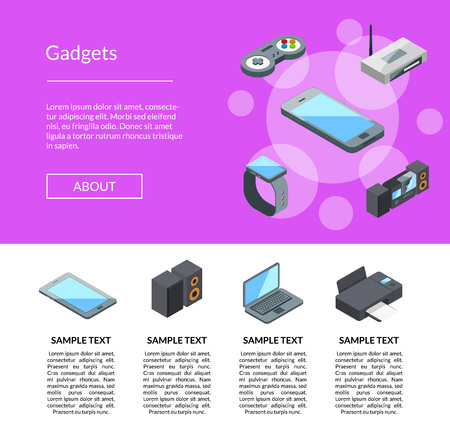 Vector isometric gadgets icons landing page template with text info illustration Illustration