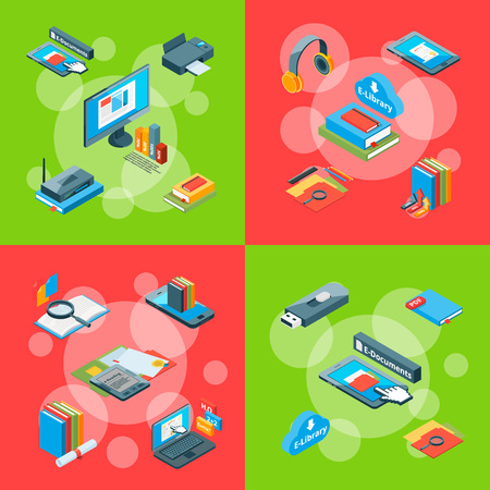Vector isometric online education colored icons infographic concept illustration. Banner study collection