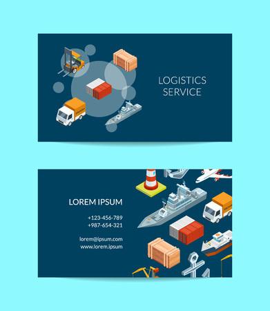 Vector isometric marine logistics or seaport company business card template illustration