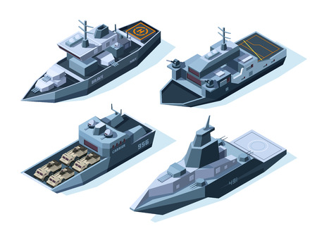 Isometric warships. Vector military boats. Illustration of warship military, ship and boat, vessel nautical with weapon for army