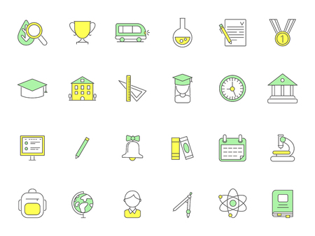 Colored school icons. Vector symbols of science. Illustration of school educational, study and lesson, globe and bell