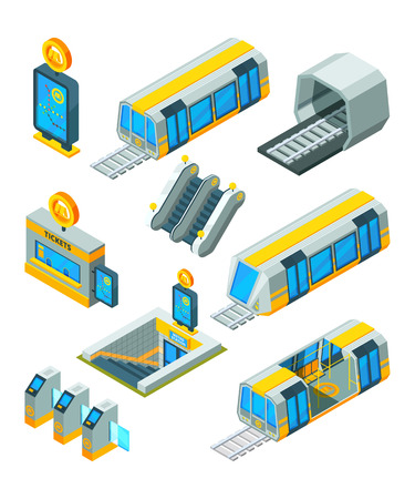 Subway metro elements. Entrance electric gates and signs train tunnel with escalator modern subway station isometric vector 3d pictures. Train metro, subway transport, urban traffic illustration