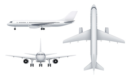 Civil aircraft views. Passenger white plane in various views fly transport realistic vector illustrations. Aircraft aviation, travel plane, transportation civil airliner