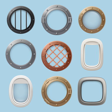 Aircraft window. Plane, jet ship or submarine interior with futuristic glass portholes of various shapes vector collection. Illustration of porthole glass frame, window submarine and airplane Иллюстрация