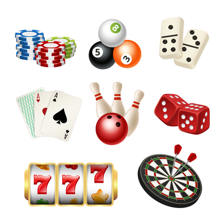 Casino game icons. Playing cards bowling domino darts dice vector realistic illustrations of play tools. Play game casino, dice and bowling