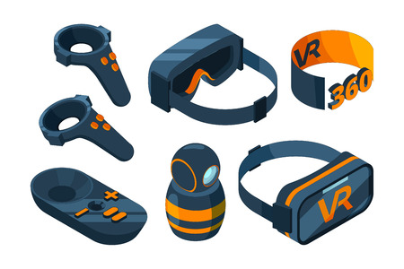 VR isometric Icon. Immersed virtual reality experience gaming equipment helmet and glasses simulator vector 3D pictures. Illustration of helmet equipment, device technology vr