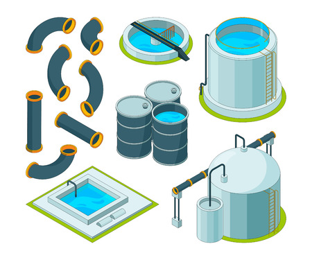 Water purification. Treatment watering cleaning system chemical laboratory vector isometric icons. Illustration of purification isometric system, reservoir tank water Illustration