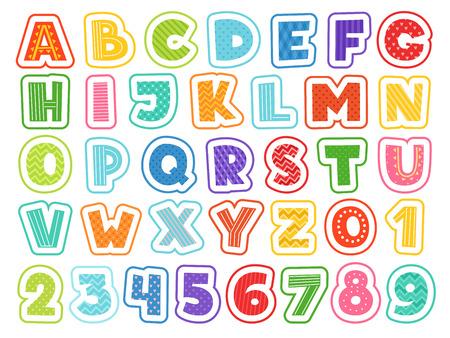 Cartoon-Alphabet. Niedliche farbige Buchstaben zahlen Zeichen und Symbole für Schulkinder und lustige Vektorschriftarten für Kinder. Alphabet und farbiges abc, Schriftartbuchstaben und Zahlenillustration
