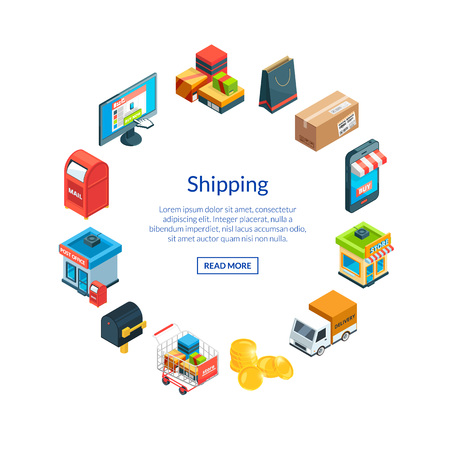 Vector isometric shipping and delivery icons in circle shape with place for text illustration
