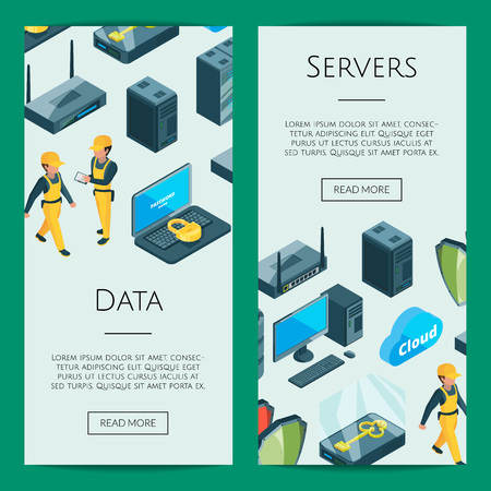 Vector electronic system of data center icons web banner and page poster templates illustration