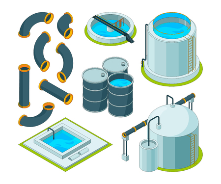 Water purification. Treatment watering cleaning system chemical laboratory vector isometric icons. Illustration of purification isometric system, reservoir tank water Stock Photo