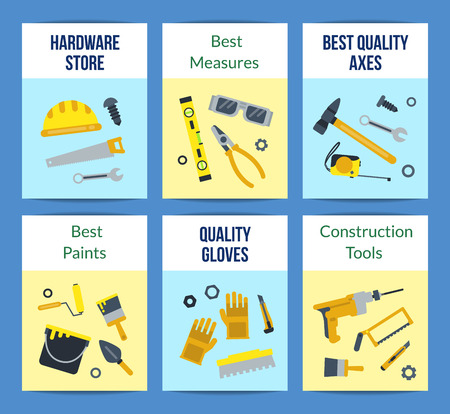 Vector flat construction tools card set with place for text illustration Vettoriali
