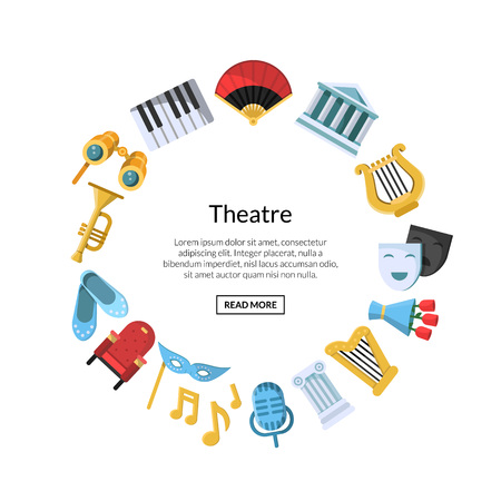 Vector flat theatre icons in circle shape with place for text illustration Illustration