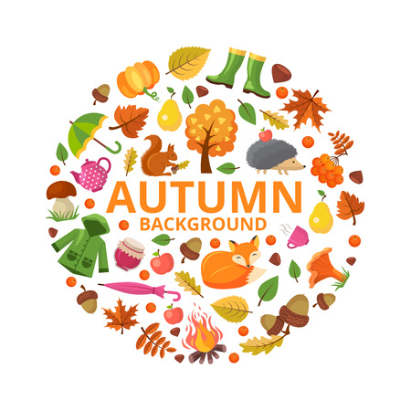 Autumn collection circle. Fall branch animals and orange yellow leaves symbols of autumn vector round shape floral decoration designs. Autumn season, hedgehog and fox, bonfire and acorn illustration