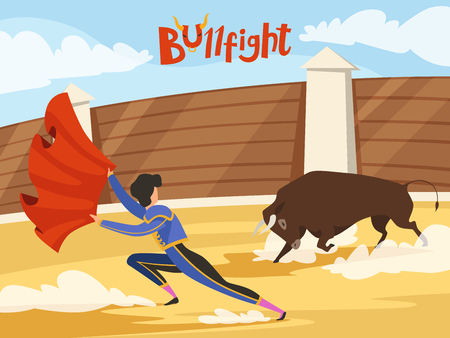 Bullfighting background. Spain traditional performance with matador and bull. Dance of the death. Bull and matador, spanish toreador, corrida bullfight, vector illustration Vector Illustration