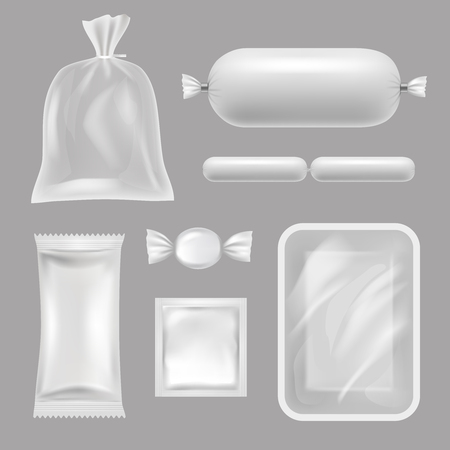Empty food packages. Vector realistic pictures of polyethylene packages. Illustration of polyethylene realistic for food, container for candy and condom Vetores