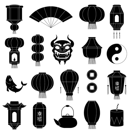 Chinese symbols silhouettes. Asian paper lanterns mask of dragon fish traditional china festive black vector illustrations. Chinese symbol, dragon and lantern