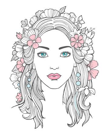 Portrait de belle femme. Mystérieux dessin beauté jeune femme avec des fleurs dans l'art vectoriel de cheveux. Visage portrait de femme, jeune fille dessin illustration