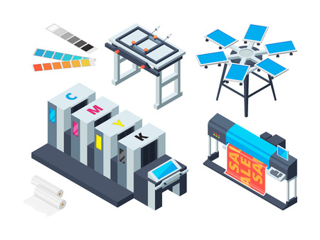 Print house machine. Digital laser printer inkjet plotter various printing tools vector isometric pictures. Printer technology, device print equipment illustration