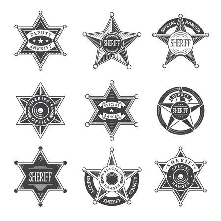 Sheriff stars badges. Western star texas and rangers shields or logos vintage vector pictures. Illustration of texas star, ranger sheriff badge Logo