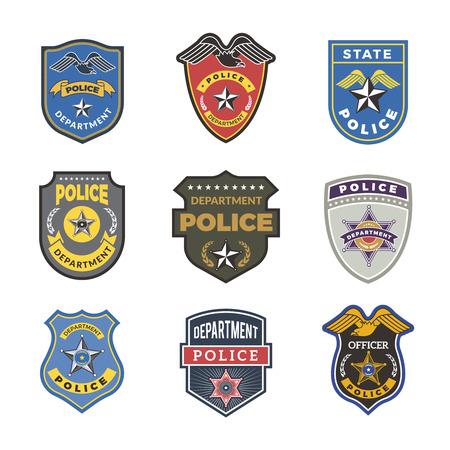 Polizeiabzeichen. Sicherheitszeichen und Symbole Regierungsabteilungsbeamter Strafverfolgungsvektorlogotypen. Illustration von Sicherheitsbeamten, Sheriffs und Polizisten, Bundesdetektive
