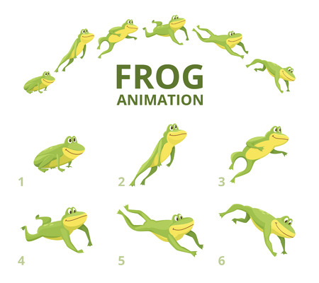 Frog jumping animation. Various keyframes for green animal. Vector frog animation, jump amphibian animated illustration Çizim
