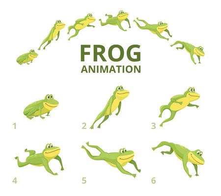 Kikker springen animatie. Diverse keyframes voor groen dier. Vector kikker animatie, spring amfibie geanimeerde afbeelding Vector Illustratie