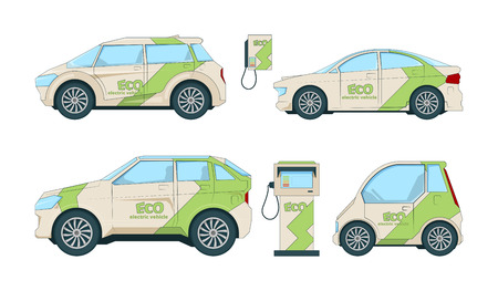 Electric cars. Various cartoon eco cars isolate. Illustration of eco automobile, electric car transportation vector Vectores