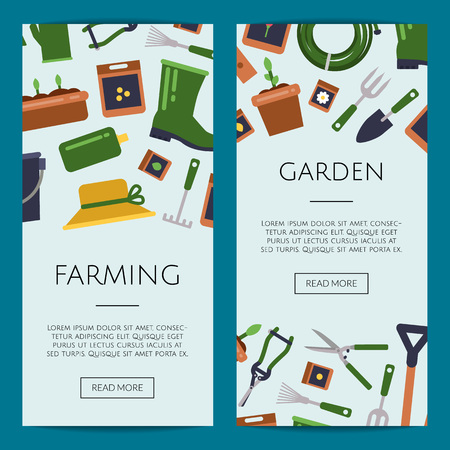 Vector flat gardening icons web banner, poster set templates illustration