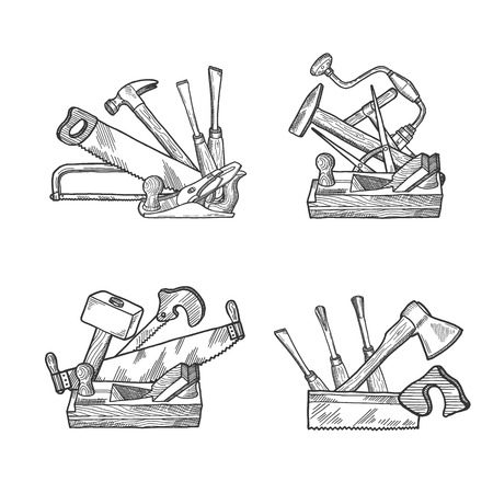 Vektorhand gezeichnete Holzarbeitselementstapelsätze lokalisiert auf weißer Hintergrundillustration