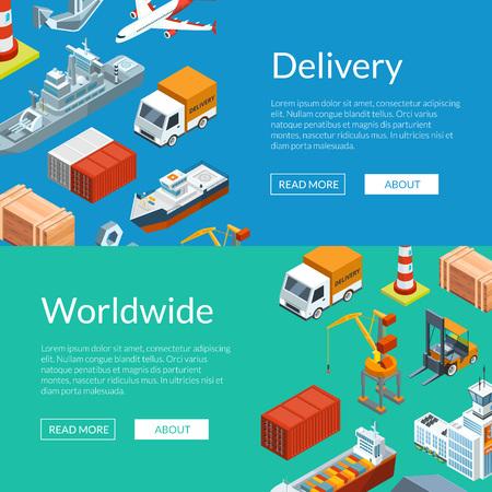 Vector isométrique logistique marine et bannière web port maritime et illustration de modèles postert