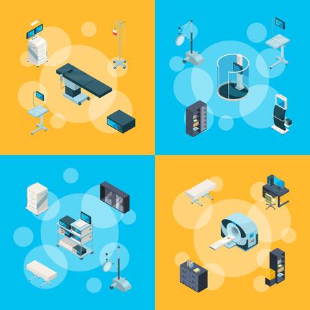 Isometrische Krankenhausikonen-Infografik-Konzeptillustration des Banner- und Webseitenvektors