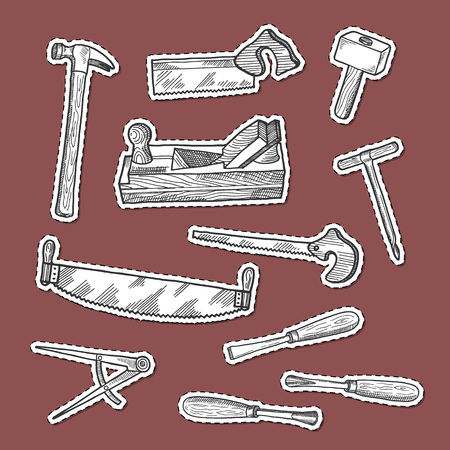 Vector hand drawn carpentry elements stickers set isolated on background illustration Иллюстрация