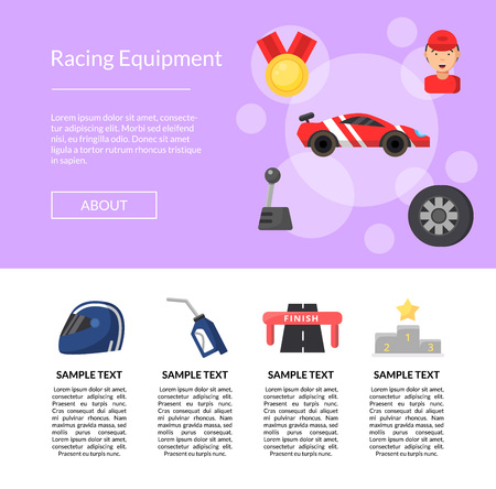 Web site vector flat car racing icons landing page template illustration
