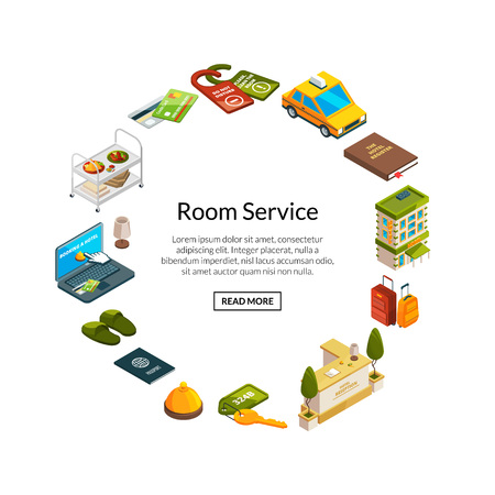 Vector isometric hotel icons in circle shape with place for text illustration 일러스트