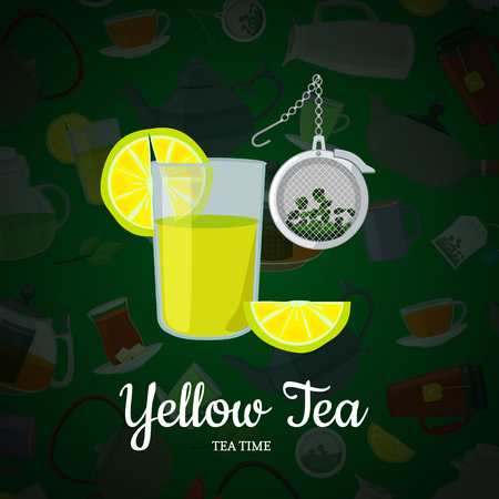 Vector cartoon tea kettles and cups background with place for text illustration